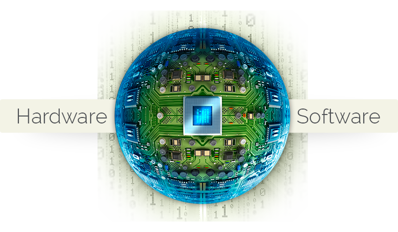 Stylized, spherical circuitboard image with the words Hardware and Software on each side