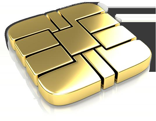 Shiny golden stylized microship