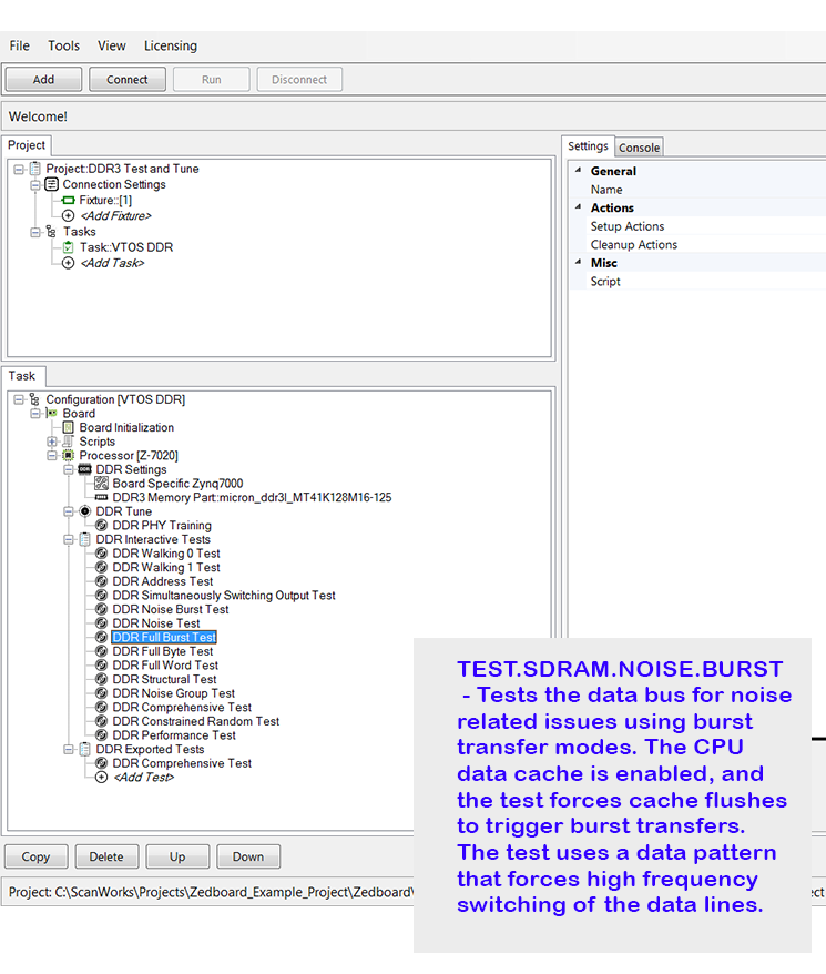 Annotated screenshot of ScanWorks DDR Tuning, Calibration & Test