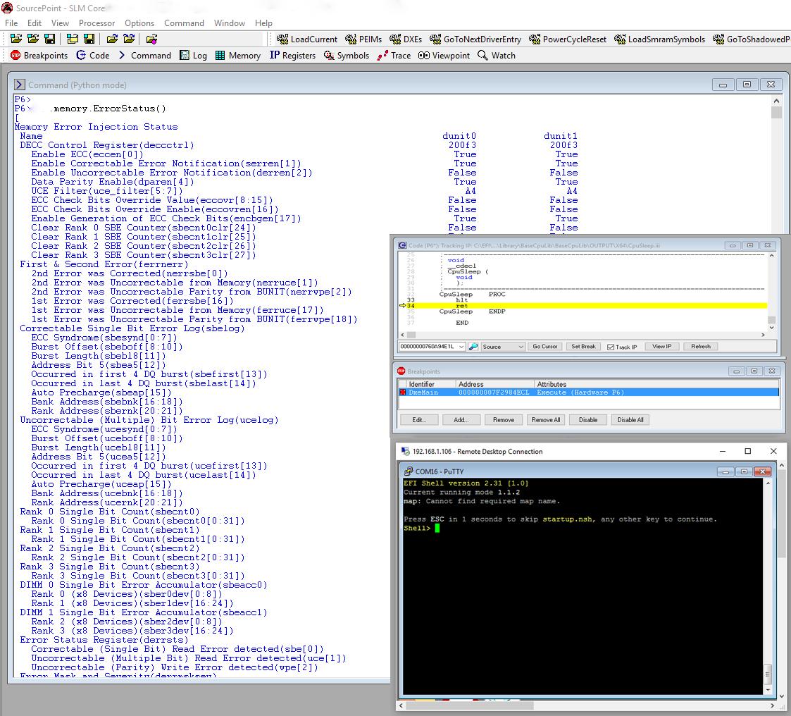 EFI CScript Memory Error Status Screenshot